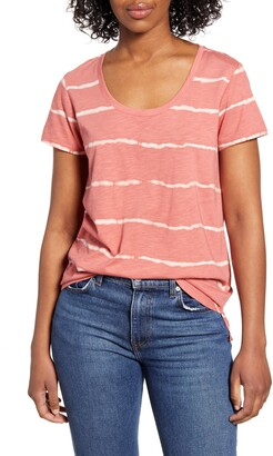 Vince Camuto Linear Whispers Cotton Blend T-Shirt
