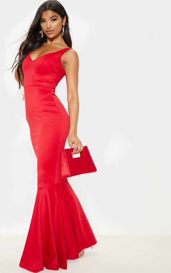 PrettyLittleThing Red Strappy Plunge Maxi Dress