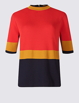 M&S Collection Colour Block Turtle Neck Half Sleeve Jumper