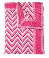 The Well Appointed House 100% Cashmere Modern Herringbone Design Throw in Fuchsia and Ivory