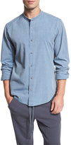 Vince Raw Stand-Collar Chambray Shirt, Blue