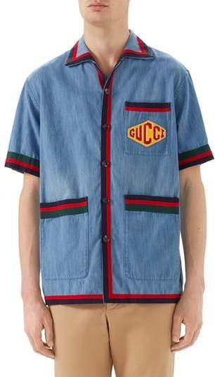 Gucci Stonewash Denim Bowling Shirt