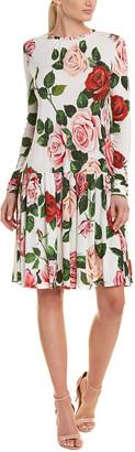 Dolce & Gabbana Rose-Print Drop-Waist Dress