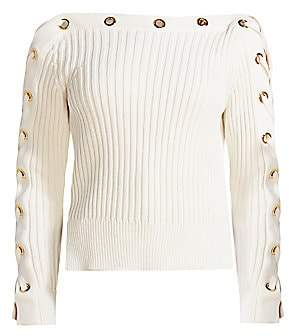 Alexander McQueen Women's Lace-Up Ribbed Boatneck Sweater