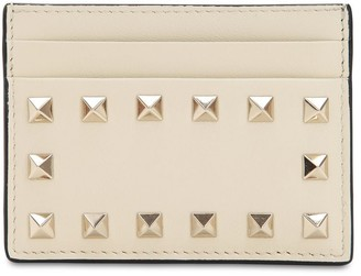 Valentino ROCKSTUD EMBELLISHED LEATHER CARD HOLDER