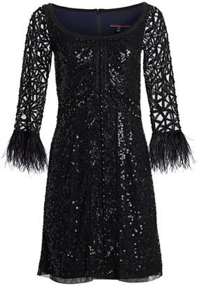 Joanna Mastroianni Feathered A-Line Cocktail Dress