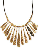 Lucky Brand Necklace, Gold-Tone Fan Feather Leather Cord Necklace