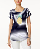 Charter Club Petite Striped Pineapple Graphic Top, Created for Macy's