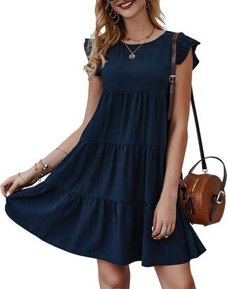 Kirundo 2021 Womens Summer Mini Dress Sleeveless Ruffle Sleeve Round Neck Solid Color Loose Fit Short Flowy Pleated Dress (Dark Yellow s)