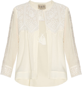 Sea Embroidered-lace long-sleeved blouse