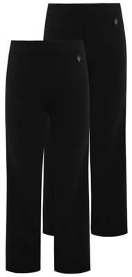 George Girls Black Straight Leg Jersey School Trousers 2 Pack