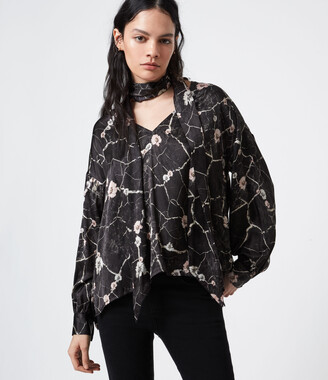 AllSaints Cesey Silk Blend Hope Top
