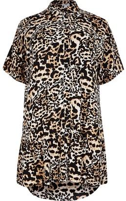 River Island Plus animal print shirt smock mini dress