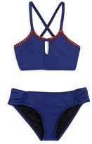 Splendid Girls' Chambray High Neck 2-Piece Swimsuit - Sizes 7-14
