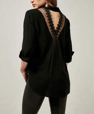 Milan Kiss Women's Blouses BLACK - Black Lace-Detail Cutout-Back Button-Up - Women