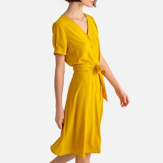 La Redoute Collections Button-Through Mid-Length Dress with Tie-Waist
