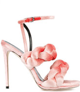 Marco De Vincenzo Pink Braided Ankle Strap Sandals - women - Leather/Velvet - 36
