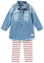 7 For All Mankind Baby Girls 12-24 Month Flap-Pocket Chambray Denim Dress & Striped Leggings Set