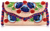 Tory Burch Embroidered Floral Canvas Flap Clutch
