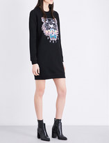 Kenzo Tiger-embroidered cotton-jersey mini dress