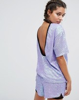 Jaded London Oversize T-Shirt In Sequin With Collar Detail And Deep Scoop Back Co-Ord
