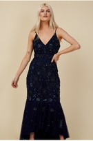 Thumbnail for your product : Little Mistress Bridesmaid Lorna Navy Floral Embellished Midaxi Dress