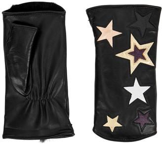 Agnelle Starette black fingerless leather gloves
