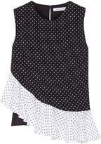 J.W.Anderson Ruffle-paneled polka-dot crepe top