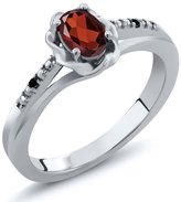 Gem Stone King 0.51 Ct Oval Red Garnet Black Diamond 14K White Gold Ring