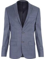 River Island Blue Checked Slim Suit Jacket