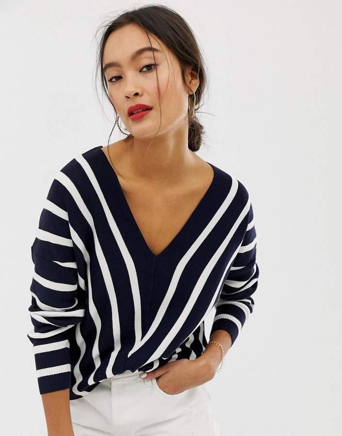 vertical stripe wide v neck sweater