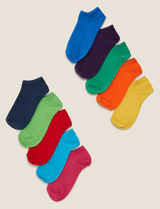 Marks and Spencer 10pk Cotton Colourful Trainer Liner Socks