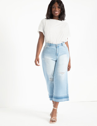 ELOQUII Wide Leg Crop Jean with Release Hem