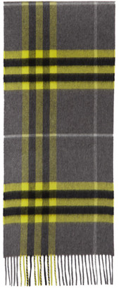 Burberry Grey and Yellow Cashmere Classic Check Scarf