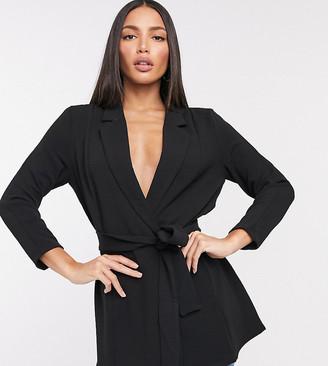 ASOS DESIGN Tall jersey wrap suit blazer in black
