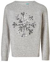 John Lewis Girls' Snowflake Sequin Knit Jumper, Grey