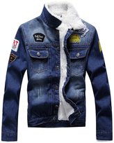 Chouyatou Men's Distressed Thicken Faux Lined Denim Jacket with Embroider Label