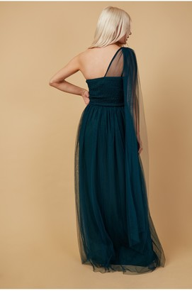 Little Mistress Bridesmaid Karter Emerald Green Bow Detail One-Shoulder Maxi Dress