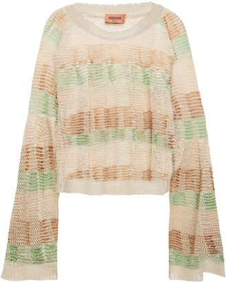 Missoni Cropped Gathered Metallic Crochet-knit Hemp-blend Top