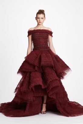 Marchesa Off Shoulder Ruffled Tulle Tierred Gown