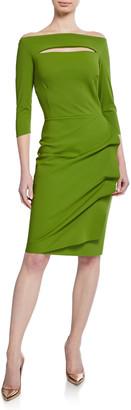 Chiara Boni Slit-Neck 3/4 Sleeve Ruched Cocktail Dress