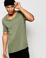 Asos Longline T-Shirt With Stretch Neck And Dropped Hem In Green