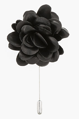 Lanvin Black leather rose tie pin