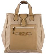 Moschino Leather-Trimmed Woven Satchel
