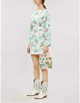 MONICA BERNADETTE floral-print stretch-jersey mini dress