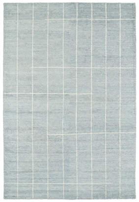 "Kaleen Hand Woven Solitaire Glacier Bamboo Silk Rug, 5'x7'9"""