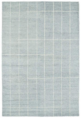 Kaleen Hand Woven Solitaire Glacier Bamboo Silk Rug, 8'x11'