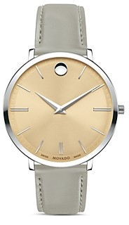 Movado Ultra Slim Gray Leather Strap Watch, 35mm