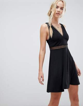 Free People Of My Heart Mesh Inserts Dress-Black