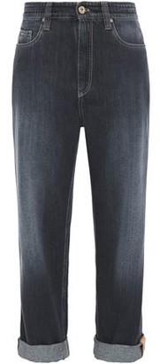 Brunello Cucinelli Bead-embellished Faded Boyfriend Jeans